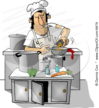 6679-Dirty-Chef-Smoking-While-Cooking-In-A-Kitchen-Clipart-Illustration