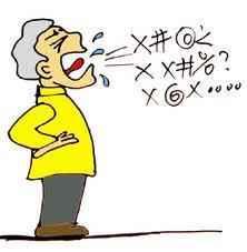 man swearing
