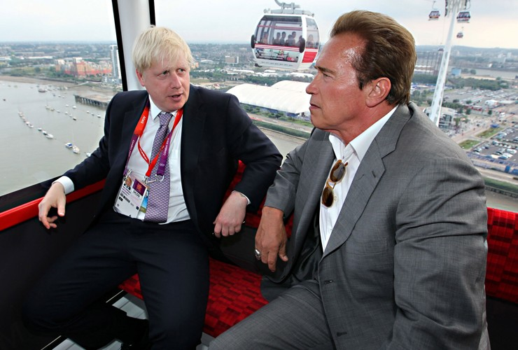 Boris Johnson , Arnold Schwarzenegger, cable car , Olympics , Emirates , cable car ,Mayor of London