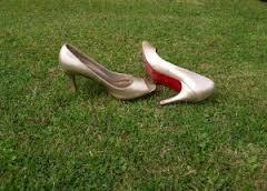 high heels grass