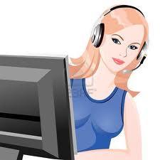 pc worker with headphones