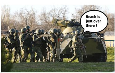 russian troops head for beach