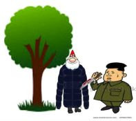 gnomes and kim jong un with knife