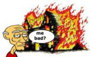 man burns down house